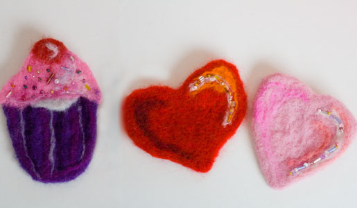 Heart and Cupcake Brooches